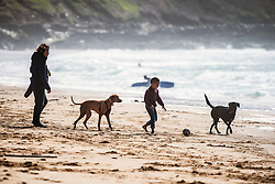 A young boy plays with his dogs on Fistral Beach in Newquay, Cornwall.