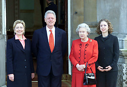 US President Bill Clinton, his wife Hillary (right) and his daughter Chelsea (left) meet Britain's Queen Elizabeth II at Buckingham Palace in London.