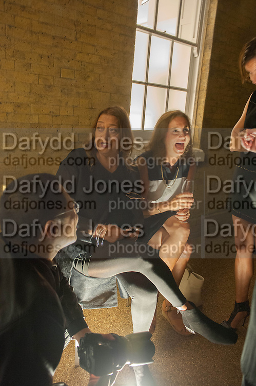 ZAHA HADID; MYA; ELISKA KAPRITSKY, VIP opening  of the new Serpentine Sackler Gallery designed by Zaha Hadid . Kensinton Gdns. London. 25 September 2013