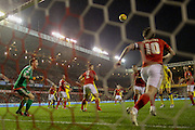 Nottingham Forest goalkeeper Dorus de Vries shouts to Nottingham Forest midfielder Henri Lansbury  to head the ball off the line during the Sky Bet Championship match between Nottingham Forest and Leeds United at the City Ground, Nottingham, England on 27 December 2015. Photo by Simon Davies.