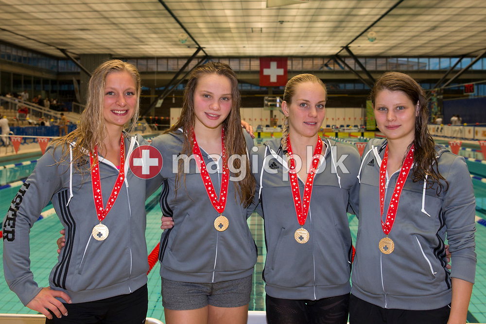 (L-R) SCUW's Maria Ugolkova, Angelique Brugger, Sasha Touretski and Annick van Westedorp of Switzerland pose with their Gold medals after winning in the women's 4x100m Freestyle Relay Final during the Swiss Swimming Championships at the Piscine des Vernets in Geneva, Switzerland, Friday, March 24, 2017. (Photo by Patrick B. Kraemer / MAGICPBK)