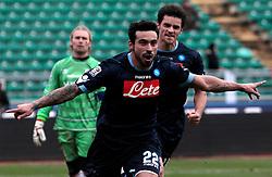 Bari (BA), 23-01-2011 ITALY - Italian Soccer Championship Day 21 - Bari VS Napoli..Pictured: Lavezzi (N) dopo il gol..Photo by Giovanni Marino/OTNPhotos . Obligatory Credit