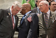 Rep. John Lewis (D-GA) right, leans in to speak with U.S. House Minority Whip Rep. Steny Hoyer (D-MD) left, during a news conference on gun control on Capitol Hill in Washington, DC. June 22, 2016. House Democrats are staging a sit-in on the House floor to demand Speaker Rep. Paul Ryan (R-WI) not to recess the House without voting on legislation including the bipartisan 'No Fly, No Buy' legislation and a universal background check bill.