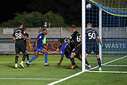 Brighton and Hove Albion defender Alex Cochrane (50) watches the ball going over the bar during the EFL Trophy (Leasing.com) match between AFC Wimbledon and U23 Brighton and Hove Albion at the Cherry Red Records Stadium, Kingston, England on 3 September 2019.