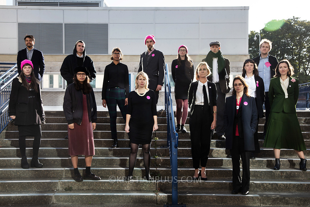 14 of the Stansted15 outside Chelmsford crown court, first day of the trial of the Stansted 15, October 1st 2018, Chelmsford, United Kingdom. The 15 defendants are charged under the terrorism legislation for stopping a deportation flight in Standsted airport 2017. The flight was due to deport people to Nigeria and Ghana and the action stopped the plane from taking off. Several of the deportees are still in the UK.