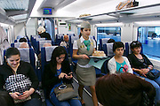 Uzbekistan, Tashkent. Aboard the Afrosiyob High-Speed Train ready to leave for Samarqand.