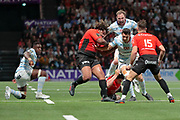 Daniel William Carter - Dan Carter (Racing 92) catched by FRANCOIS TRINH DUC (Rugby Club Toulonnais), MATHIEU BASTAREAUD (Rugby Club Toulonnais), Hugo Bonneval (Rugby Club Toulonnais), Antonie CLAASSEN (Racing 92), Yannick NYANGA KABASELE (Racing 92) during the French Championship Top 14 Rugby Union match between Racing 92 and RC Toulon on April 8, 2018 at U Arena in Nanterre, France - Photo Stephane Allaman / ProSportsImages / DPPI