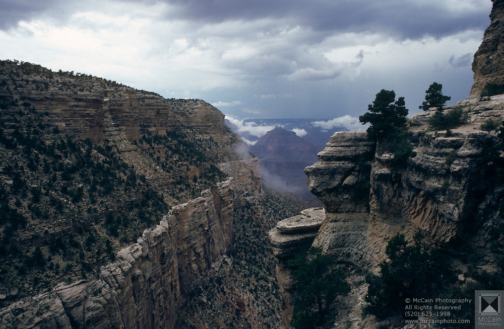 Storm clouds and rain moving across the canyon near Bright Angel Trail, Grand Canyon National Park, Arizona..Media Usage:.Subject photograph(s) are copyrighted Edward McCain. All rights are reserved except those specifically granted by McCain Photography in writing...McCain Photography.211 S 4th Avenue.Tucson, AZ 85701-2103.(520) 623-1998.mobile: (520) 990-0999.fax: (520) 623-1190.http://www.mccainphoto.com.edward@mccainphoto.com
