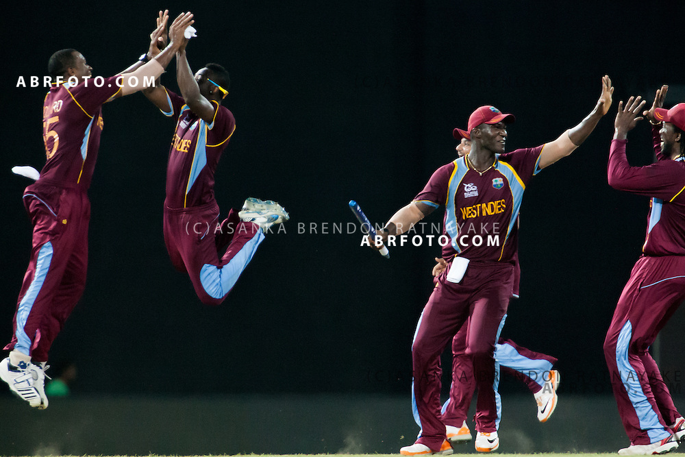 West Indians players celebrate after winning the match during the World T20 Cricket Mens Final match between Sri Lanka Vs West Indies at the R Premadasa International Cricket Stadium, Colombo. Photo credit : Asanka Brendon Ratnayake