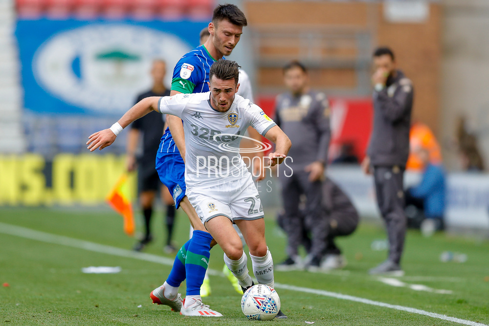 Leeds United midfielder Jack Harrison (22), on loan from Manchester City,  during the EFL Sky Bet Championship match between Wigan Athletic and Leeds United at the DW Stadium, Wigan, England on 17 August 2019.
