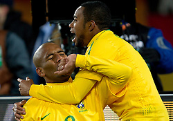 Football - soccer: FIFA World Cup South Africa 2010, Brazil (BRA) - Korea DPR (PRK), Brazil celebrates after Maicon scored fist goal during the 2010 FIFA World Cup South Africa Group G match between Brazil and North Korea at Ellis Park Stadium on June 15, 2010 in Johannesburg, South Africa.