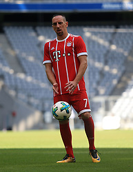 MUNICH, Aug. 8, 2017  Bayern Munich's Franck Ribery reacts prior to taking team photos at Allianz Arena in Munich, Germany, on Aug. 8, 2017. Players and coaches of Bayern Munich took team photos for the upcoming German Bundelisga season at Allianz Arena on Tuesday. (Credit Image: © Philippe Ruiz/Xinhua via ZUMA Wire)