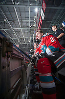 KELOWNA, CANADA - DECEMBER 6: Cole Linaker #26 of Kelowna Rockets sits on the bench against the Prince Albert Raiders on December 6, 2014 at Prospera Place in Kelowna, British Columbia, Canada.  (Photo by Marissa Baecker/Shoot the Breeze)  *** Local Caption *** Cole Linaker;