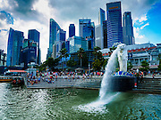 "26 DECEMBER 2015 - SINGAPORE, SINGAPORE:  The ""Merlion"" is a landmark in Singapore. It's a combination of a mermaid and a lion. In Singapore, it has become a marketing icon used as a mascot and national personification of Singapore. Merlions do not feature in any local folklore or myths of Singapore, and was only used in Singapore initially as the logo for the tourism board. PHOTO BY JACK KURTZ"
