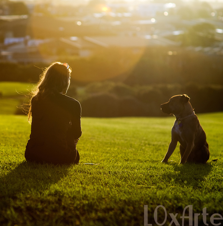 Dog and female owner sit on a field at sunset, having a conversation.