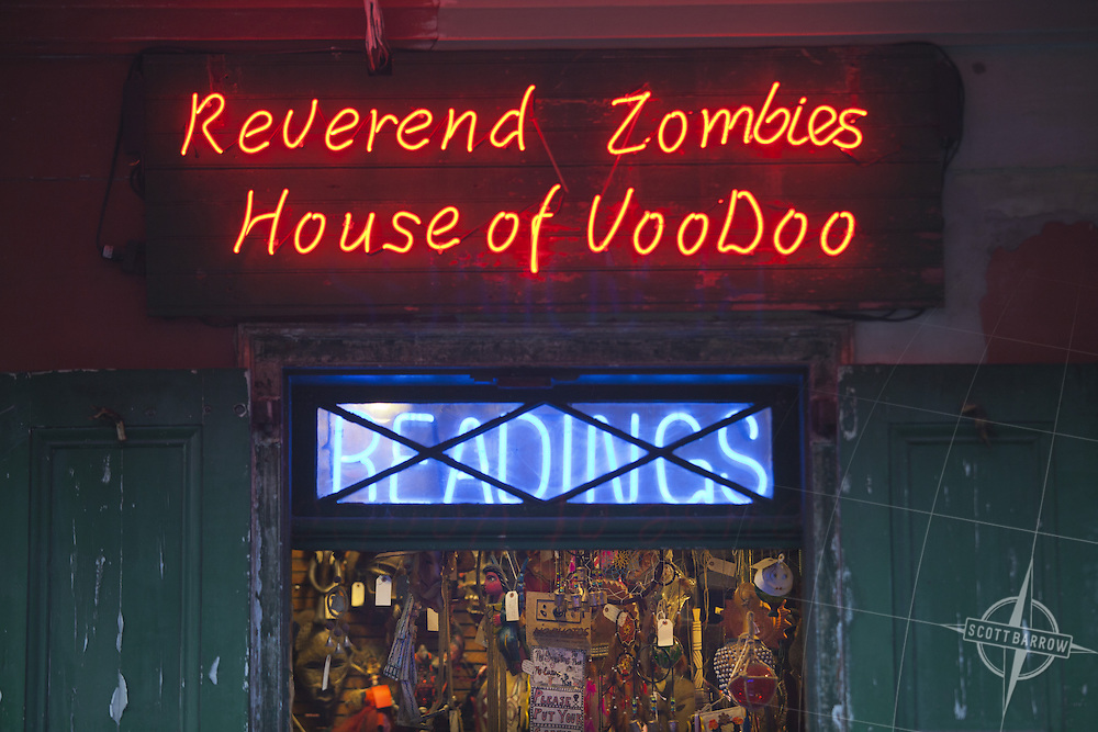 Reverend Zombies House of VooDoo neon sign in the French Quarter of New Orleans, Louisiana.