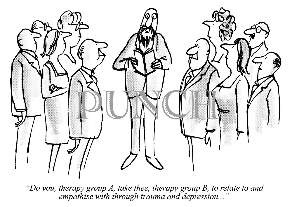 """Do you, therapy group A, take thee, therapy group B, to relate to and empathise with through trauma and depression..."""