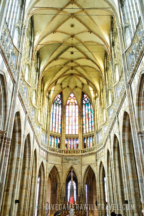 Interior of St Vitus Cathedral in Prague Castle