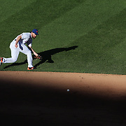 Daniel Murphy, New York Mets, fielding at second base during the New York Mets Vs Washington Nationals MLB regular season baseball game at Citi Field, Queens, New York. USA. 4th October 2015. Photo Tim Clayton