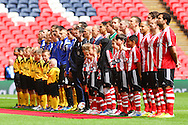Sholing and West Auckland players line up before the FA Vase match at Wembley Stadium, London<br /> Picture by David Horn/Focus Images Ltd +44 7545 970036<br /> 10/05/2014