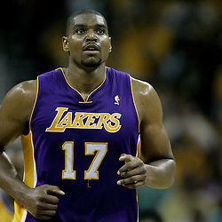 April 22, 2011; New Orleans, LA, USA; Los Angeles Lakers center Andrew Bynum (17) against the New Orleans Hornets during the first half in game three of the first round of the 2011 NBA playoffs at the New Orleans Arena. The Lakers defeated the Hornets 100-86.   Mandatory Credit: Derick E. Hingle