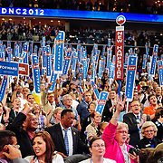 The New Hampshire delegation cheers during Michelle Obama's speech at the 2012 Democratic National Convention. Note Jesse Jackson at lower center of frame.
