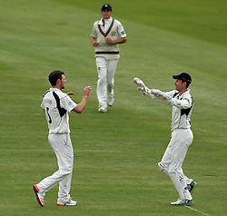 Middlesex's James Harris and Middlesex's Josh Simpson celebrate the wicket of Durham's Usman Arshad - Photo mandatory by-line: Robbie Stephenson/JMP - Mobile: 07966 386802 - 04/05/2015 - SPORT - Football - London - Lords  - Middlesex CCC v Durham CCC - County Championship Division One