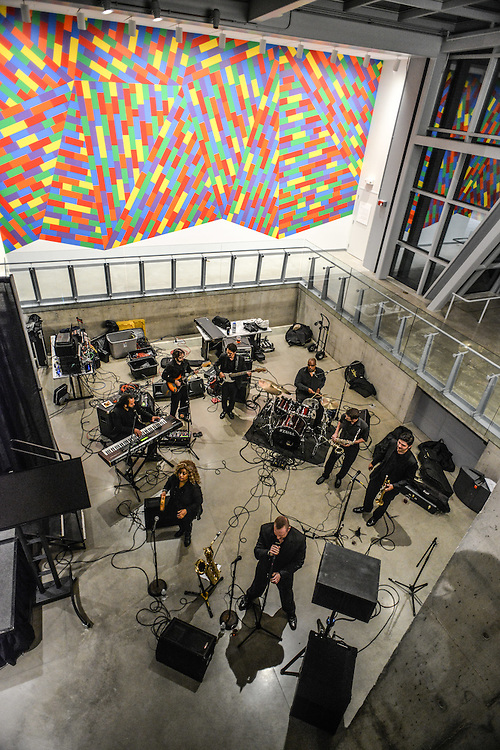 Overhead of musicians performing at Akron Art Museum during Akron Art Prize 2014.