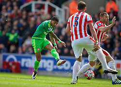 STOKE-ON-TRENT, ENGLAND - Saturday, April 30, 2016: Sunderland's Erik Pieters in action against Stoke City during the FA Premier League match at the Britannia Stadium. (Pic by David Rawcliffe/Propaganda)