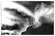 fine art image of mt manaia black and white