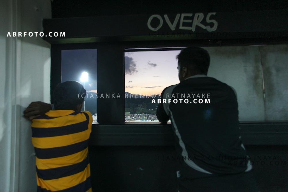 Scoreboard attendants at teh Pallekelle ground during the ICC world Twenty20 Cricket held in Sri Lanka.
