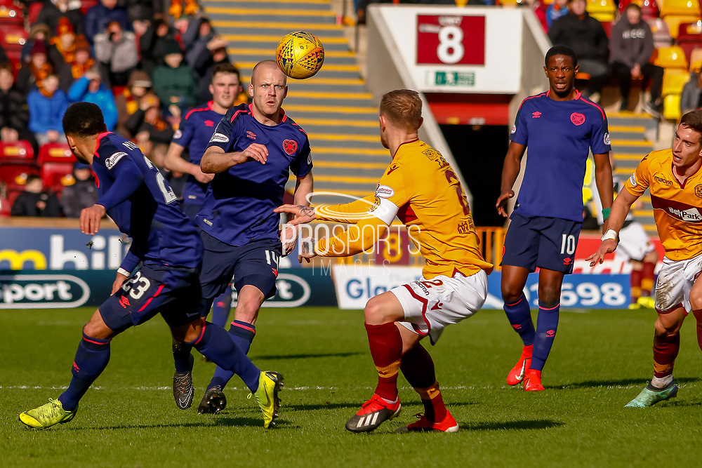 Steven Naismith of Hearts only has eyes for the ball during the Ladbrokes Scottish Premiership match between Motherwell and Heart of Midlothian at Fir Park, Motherwell, Scotland on 17 February 2019.
