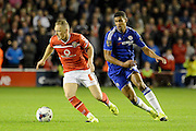 Sam Mantom moves away from Ruben Loftus-Cheek during the Capital One Cup match between Walsall and Chelsea at the Banks's Stadium, Walsall, England on 23 September 2015. Photo by Alan Franklin.