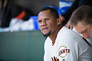 San Francisco Giants second baseman Miguel Gomez (52) hangs out in the dugout during a MLB game against the Arizona Diamondbacks at AT&T Park in San Francisco, California, on August 6, 2017. (Stan Olszewski/Special to S.F. Examiner)