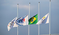 RIO DE JANEIRO  (Brazil) -  Flags half mast during the poolmatch Great Britain-Spain  (1-1) . COPYRIGHT KOEN SUYK