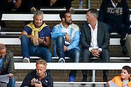 24-08-2015 VOETBAL: JONG WILLEM II-JONG FEYENOORD:TILBURG<br /> <br /> Kostas Lamprou van Willem II op de tribune naast Martin van Geel van Feyenoord <br /> <br /> Foto: Geert van Erven