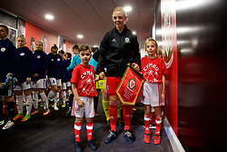 CARDIFF, WALES - Friday, November 24, 2017: Wales' captain Sophie Ingle lines-up in the tunnel before the FIFA Women's World Cup 2019 Qualifying Round Group 1 match between Wales and Kazakhstan at the Cardiff City Stadium. (Pic by David Rawcliffe/Propaganda)
