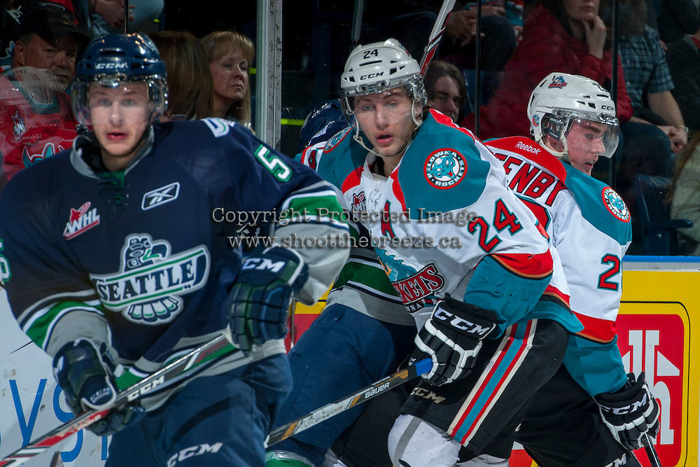 KELOWNA, CANADA - APRIL 5: Tyson Baillie #24 of the Kelowna Rockets keeps his eye on the puck against the Seattle Thunderbirds on April 5, 2014 during Game 2 of the second round of WHL Playoffs at Prospera Place in Kelowna, British Columbia, Canada.   (Photo by Marissa Baecker/Getty Images)  *** Local Caption *** Tyson Baillie;