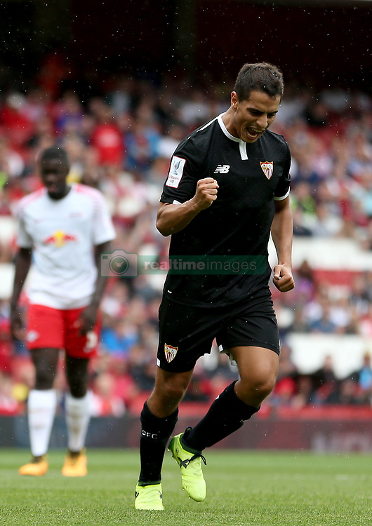 Sevilla's Wissam Ben Yedder celebrates scoring his side's first goal of the game from the penalty spot