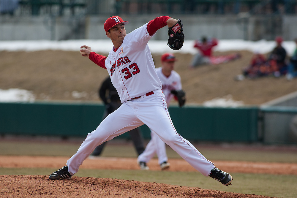 March 03, 2013: Nebraska's Christian DeLeon #33 pitched eight innings against New Mexico during the second game of the two game series at Haymarket Park in Lincoln, Nebraska. Nebraska defeated New Mexico 3 to 0.