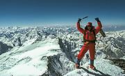 Gary Ball on summit Pik Kommunizma, 7500 metres, 1986, Pamir Mountains, Soviet Central Asia. The mountain was originally name Peter the Great, then Pik Stalin, Pik Kommunizma...and now, Ismoil Somoni Peak, highest peak in Tajikistan