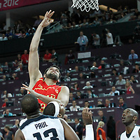 12 August 2012: Spain Felipe Reyes goes for the skyhook during 107-100 Team USA victory over Team Spain, during the men's Gold Medal Game, at the North Greenwich Arena, in London, Great Britain.