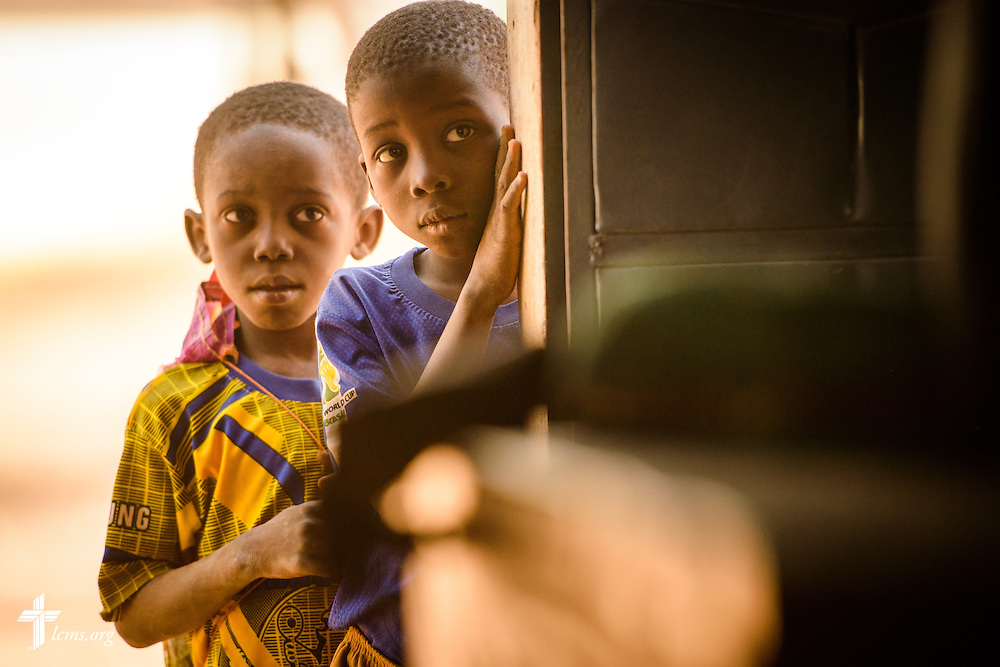 Children lean in the door during Bible study at the Lutheran Church of Togo in Lokpano on Monday, Feb. 13, 2017, in Lokpano, Togo. LCMS Communications/Erik M. Lunsford