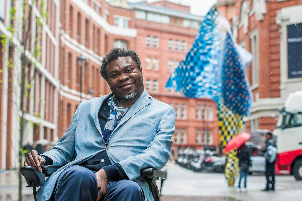 A site-specific 'Wind Sculpture' by internationally-renowned artist Yinka Shonibare (pictured), MBE. It is part of the award winning Howick Place in Victoria, London, UK, 7 April 2014.