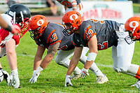 KELOWNA, BC - OCTOBER 6: Jack Proskow #52 and Will Kuyvenhoven #43 of Okanagan Sun line up against the VI Raiders at the Apple Bowl on October 6, 2019 in Kelowna, Canada. (Photo by Marissa Baecker/Shoot the Breeze)