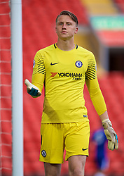 LIVERPOOL, ENGLAND - Tuesday, May 8, 2018: Chelsea's goalkeeper Marcin Bulka during the Under-23 FA Premier League 2 Division 1 match between Liverpool FC and Chelsea FC at Anfield. (Pic by David Rawcliffe/Propaganda)