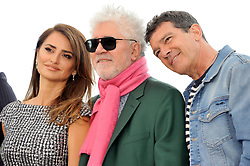 Penelope Cruz  Pedro Almodovar, Antonio Banderas attending the Pain and Glory Photocall during the 72nd Cannes Film Festival, Festival des Palais