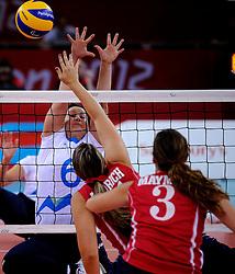 01-09-2012 ZITVOLLEYBAL: PARALYMPISCHE SPELEN 2012 USA - SLOVENIE: LONDEN<br />In ExCel South Arena wint USA van Slovenie / Suzana OCEPEK<br />©2012-FotoHoogendoorn.nl