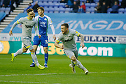 Goal celebration by Derby County forward Jack Marriott (14)  during the EFL Sky Bet Championship match between Wigan Athletic and Derby County at the DW Stadium, Wigan, England on 8 December 2018.