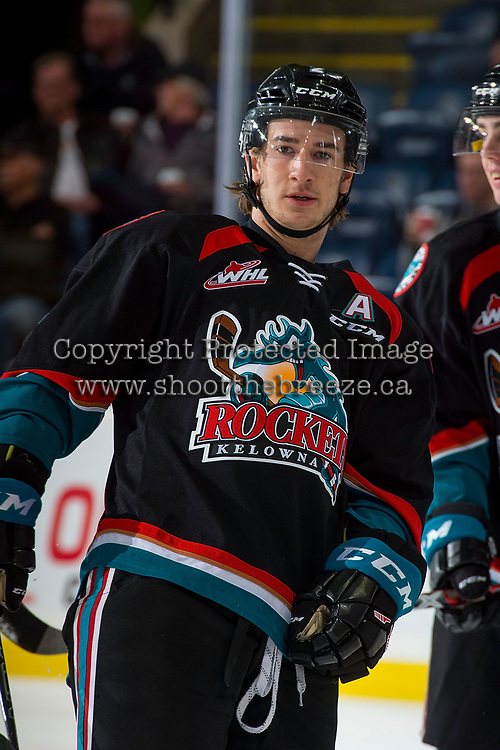 KELOWNA, CANADA - OCTOBER 4: James Hilsendager #2 of the Kelowna Rockets exists the ice after warm up against the Victoria Royals on October 4, 2017 at Prospera Place in Kelowna, British Columbia, Canada.  (Photo by Marissa Baecker/Shoot the Breeze)  *** Local Caption ***